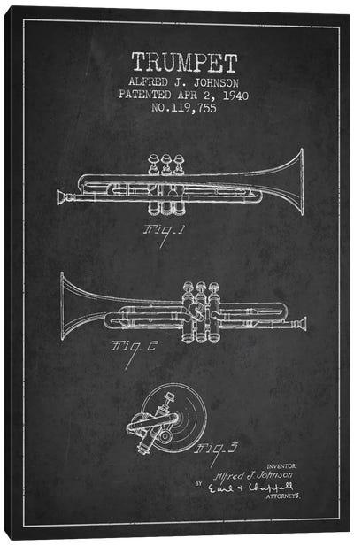 Trumpet Charcoal Patent Blueprint Canvas Print #ADP839