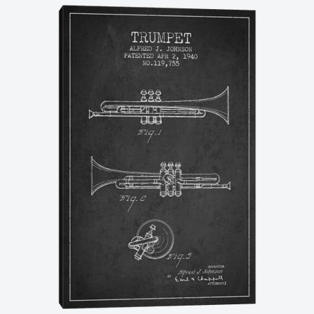 Trumpet Charcoal Patent Blueprint Canvas Print #ADP839} by Aged Pixel Canvas Wall Art