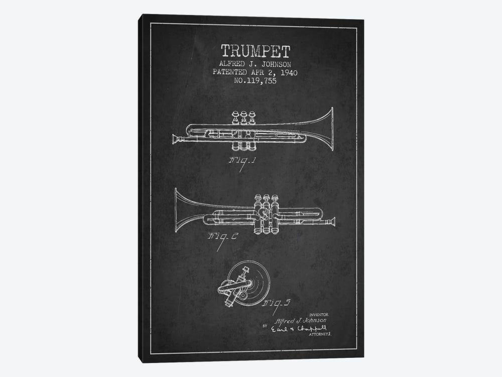 Trumpet Charcoal Patent Blueprint by Aged Pixel 1-piece Canvas Art