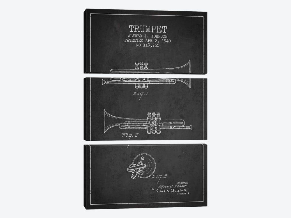 Trumpet Charcoal Patent Blueprint by Aged Pixel 3-piece Canvas Art