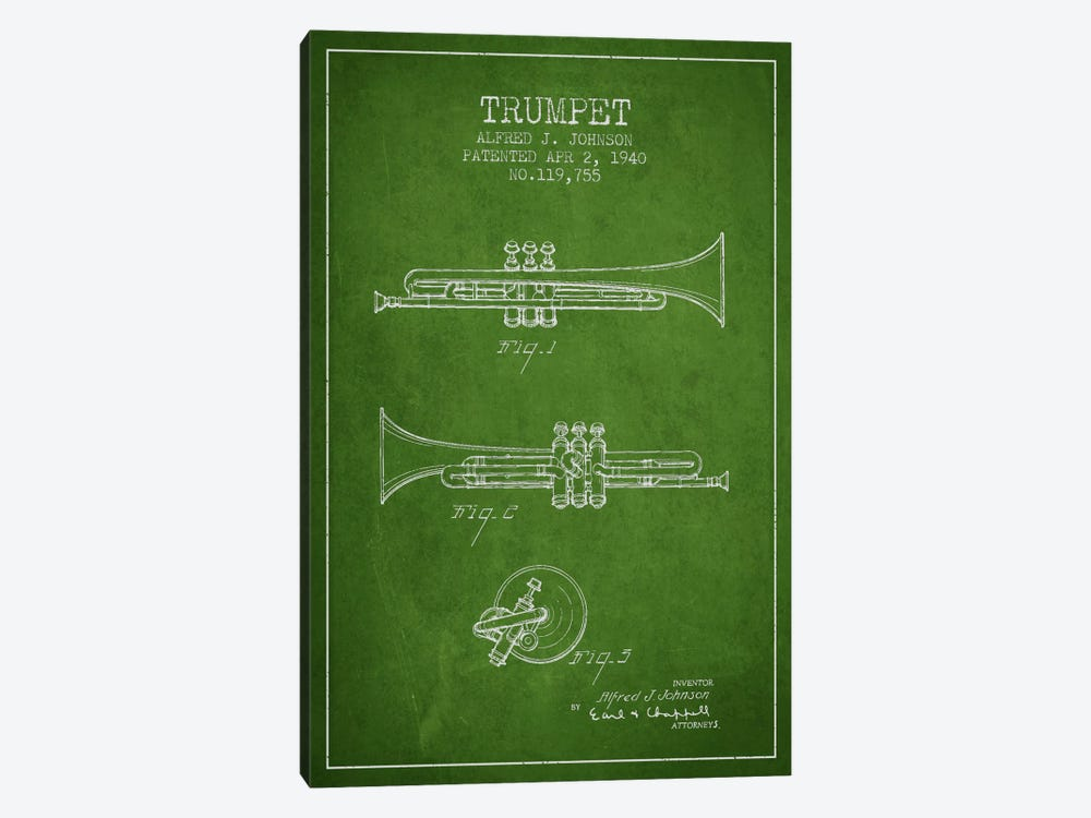 Trumpet Green Patent Blueprint by Aged Pixel 1-piece Canvas Artwork