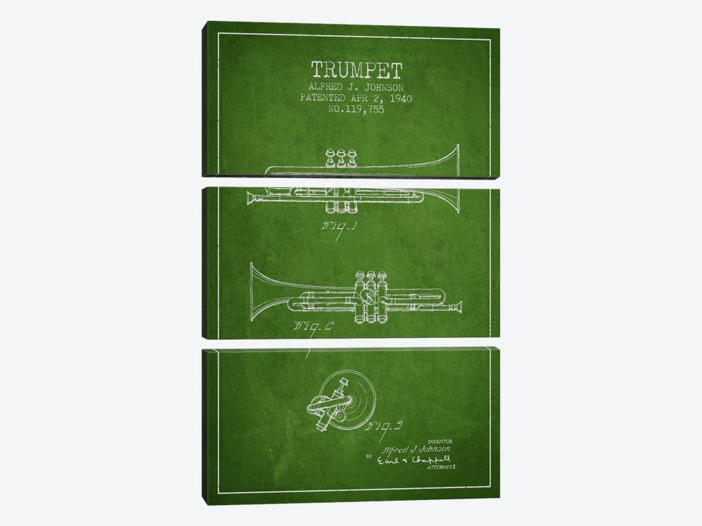 Trumpet Green Patent Blueprint by Aged Pixel 3-piece Canvas Art