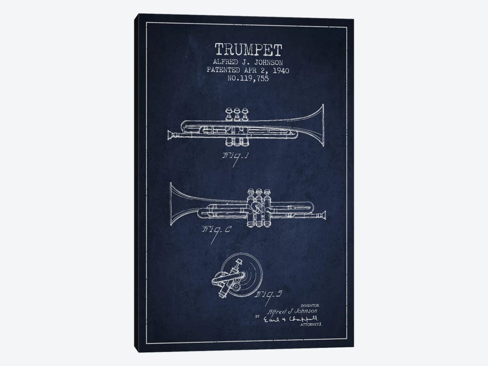 Trumpet Navy Blue Patent Blueprint by Aged Pixel 1-piece Art Print