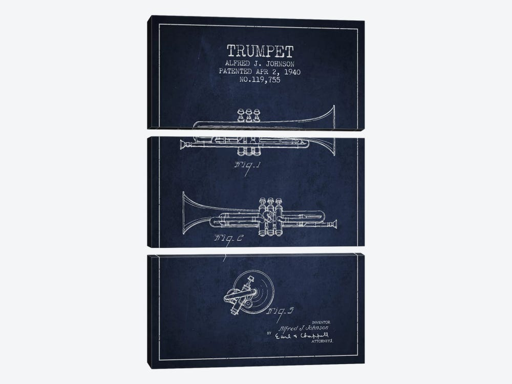 Trumpet Navy Blue Patent Blueprint by Aged Pixel 3-piece Canvas Print