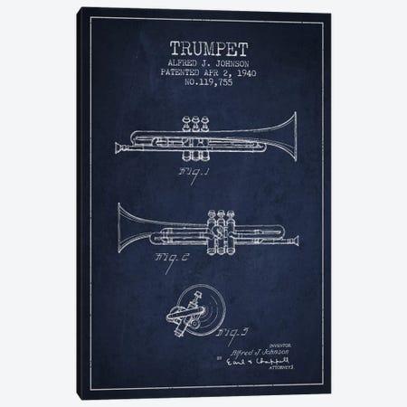 Trumpet Navy Blue Patent Blueprint Canvas Print #ADP841} by Aged Pixel Canvas Print