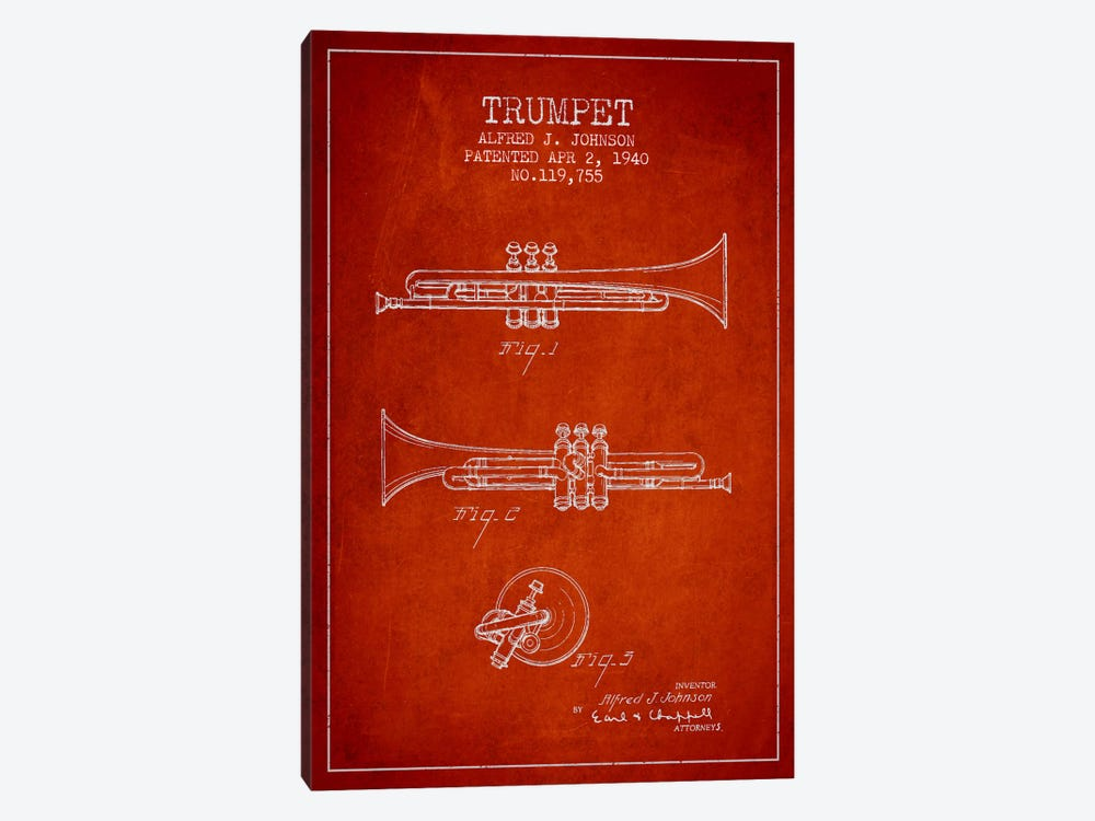Trumpet Red Patent Blueprint by Aged Pixel 1-piece Canvas Wall Art