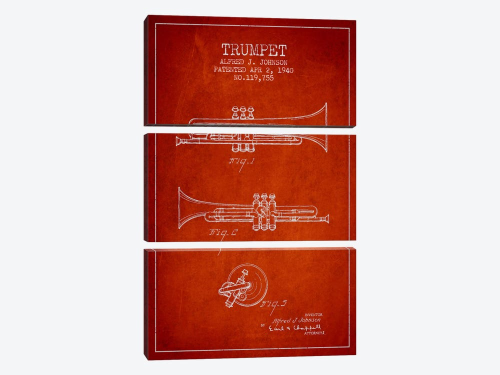 Trumpet Red Patent Blueprint by Aged Pixel 3-piece Canvas Artwork