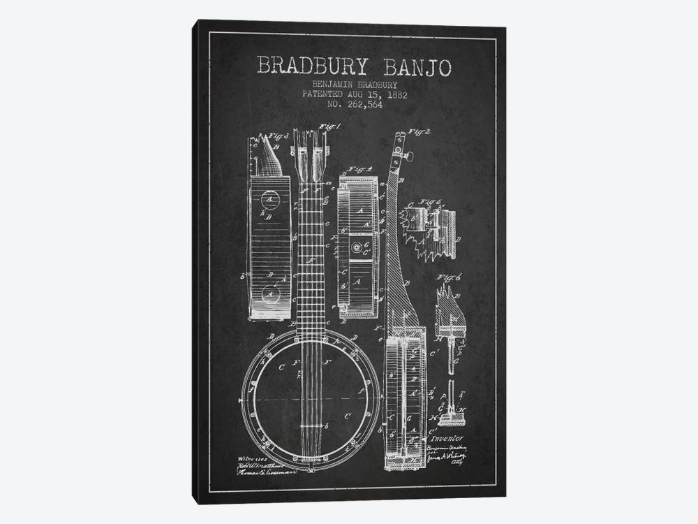 Banjo Charcoal Patent Blueprint by Aged Pixel 1-piece Canvas Wall Art