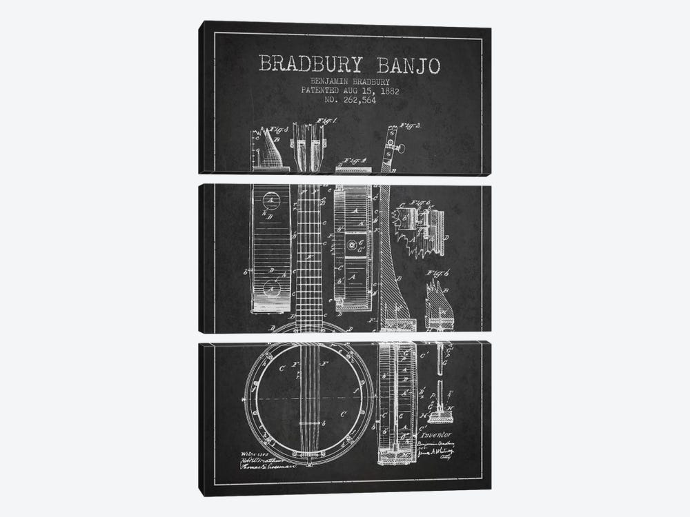 Banjo Charcoal Patent Blueprint by Aged Pixel 3-piece Canvas Artwork