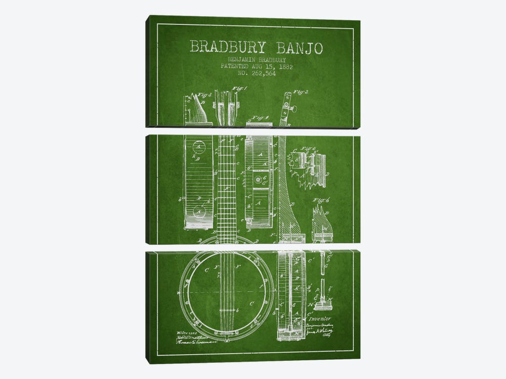 Banjo Green Patent Blueprint by Aged Pixel 3-piece Canvas Art Print