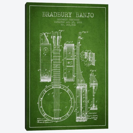 Banjo Green Patent Blueprint Canvas Print #ADP845} by Aged Pixel Canvas Art