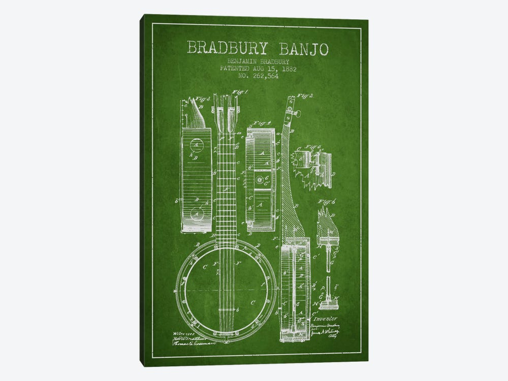 Banjo Green Patent Blueprint by Aged Pixel 1-piece Canvas Print