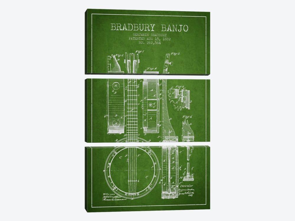 Banjo Green Patent Blueprint by Aged Pixel 3-piece Canvas Art Print