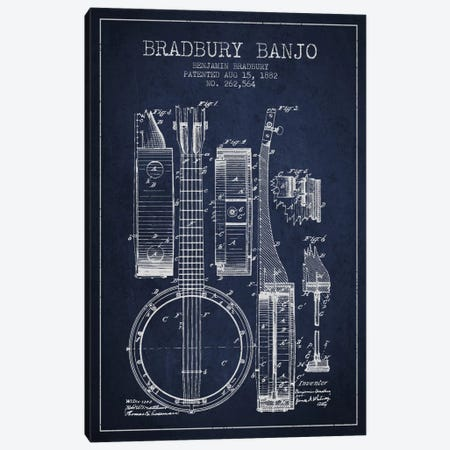 Banjo Navy Blue Patent Blueprint Canvas Print #ADP846} by Aged Pixel Canvas Wall Art