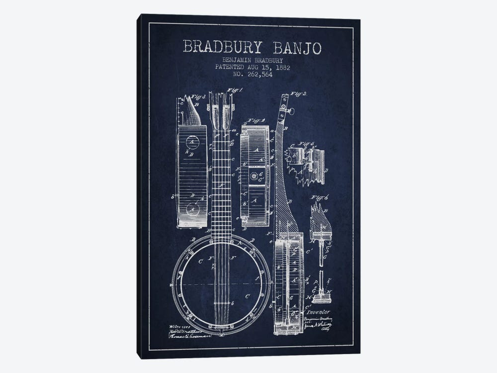 Banjo Navy Blue Patent Blueprint 1-piece Canvas Art