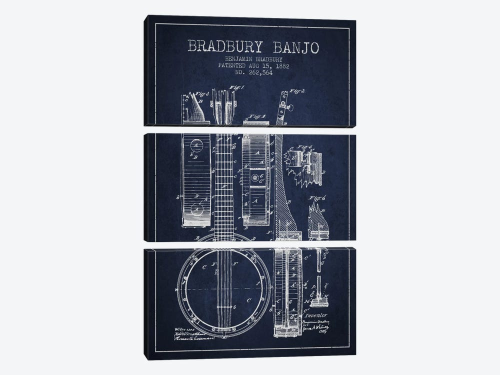 Banjo Navy Blue Patent Blueprint by Aged Pixel 3-piece Canvas Art