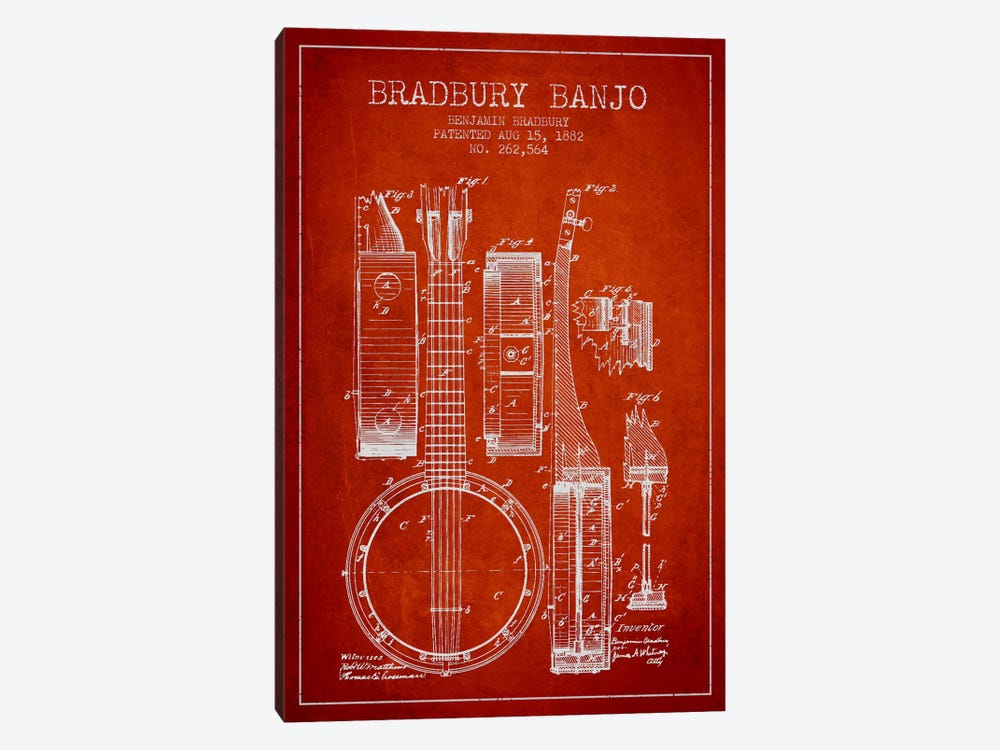 Banjo Red Patent Blueprint by Aged Pixel 1-piece Art Print