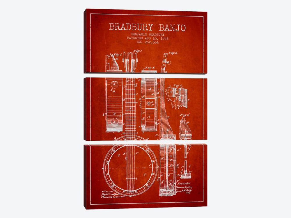 Banjo Red Patent Blueprint by Aged Pixel 3-piece Canvas Art Print