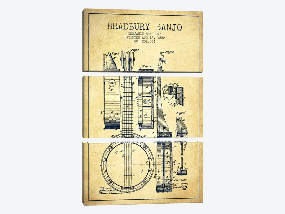 Banjo Vintage Patent Blueprint 3-piece Canvas Artwork