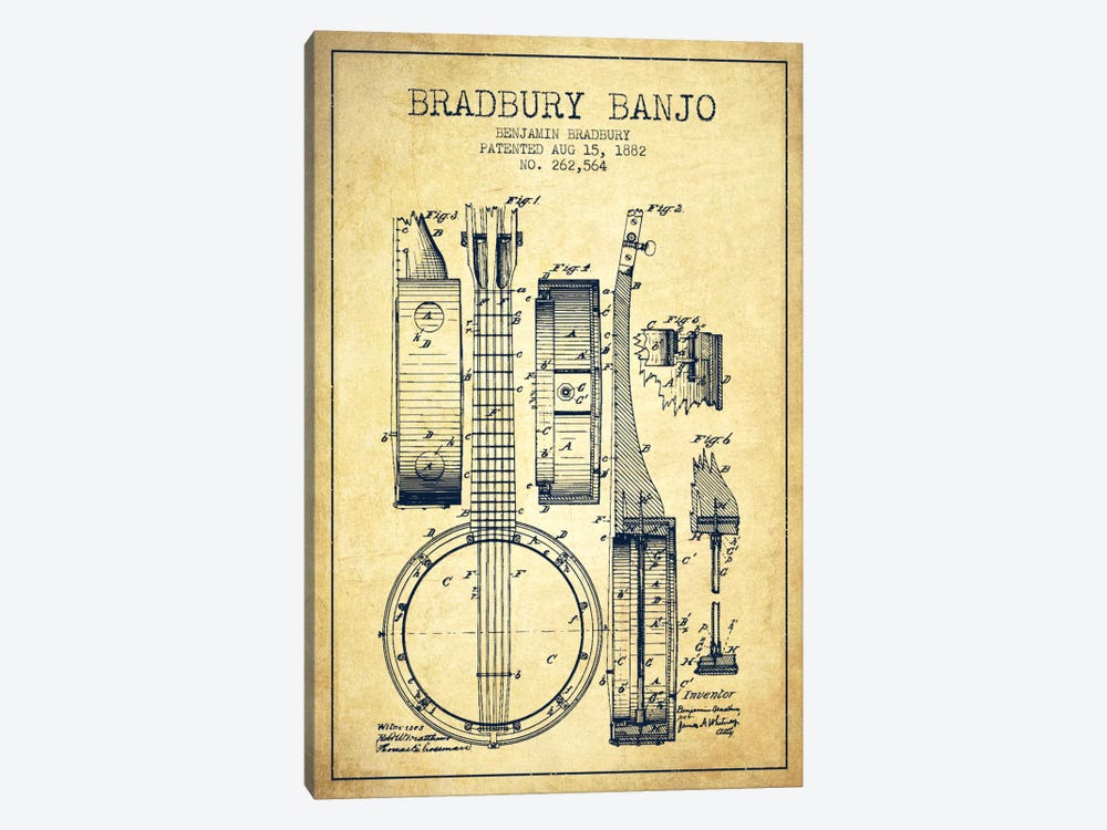 Banjo Vintage Patent Blueprint by Aged Pixel 1-piece Canvas Art