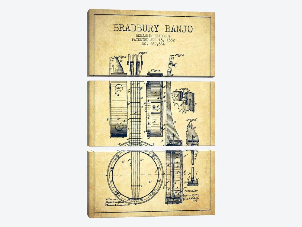 Banjo Vintage Patent Blueprint by Aged Pixel 3-piece Canvas Artwork