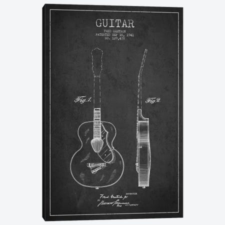 Guitar Charcoal Patent Blueprint Canvas Print #ADP849} by Aged Pixel Canvas Art Print