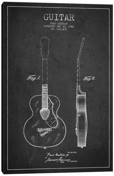 Guitar Charcoal Patent Blueprint Canvas Print #ADP849