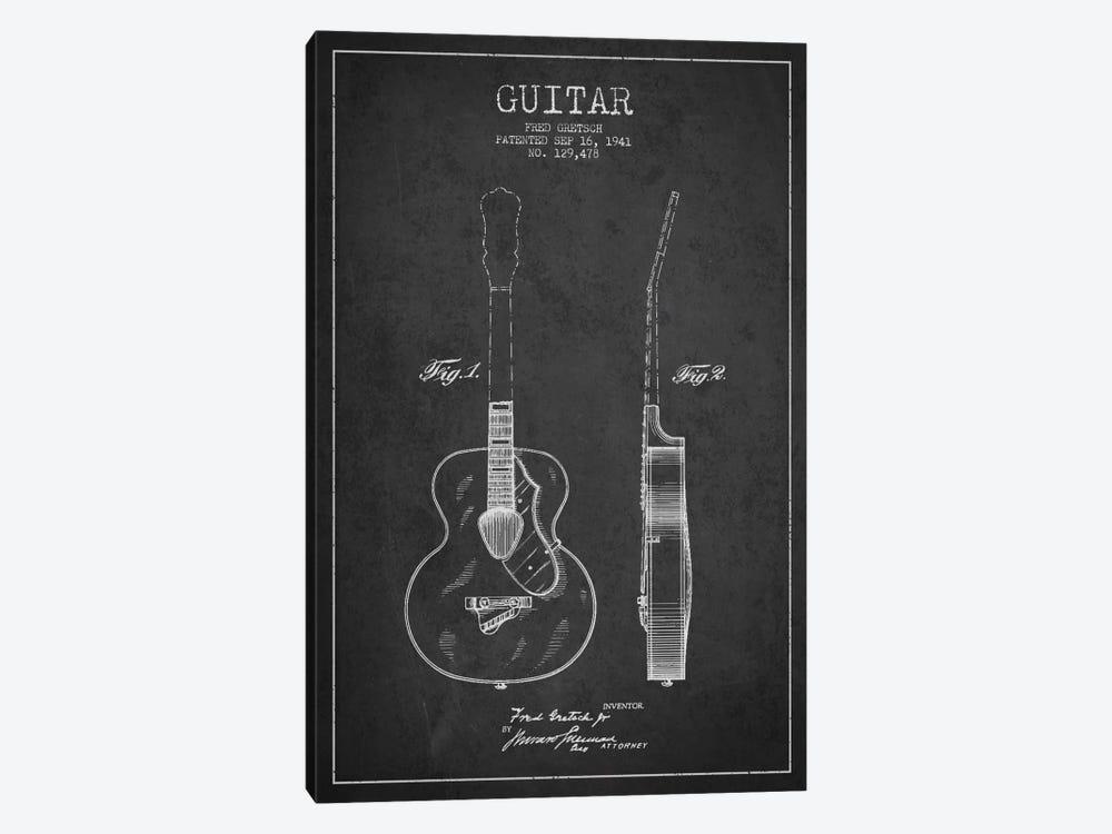 Guitar Charcoal Patent Blueprint by Aged Pixel 1-piece Art Print