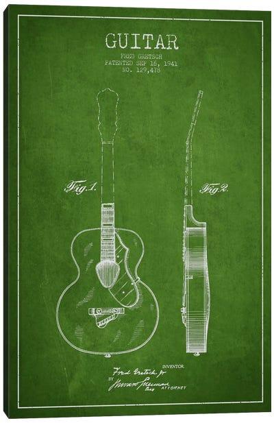 Guitar Green Patent Blueprint Canvas Print #ADP850