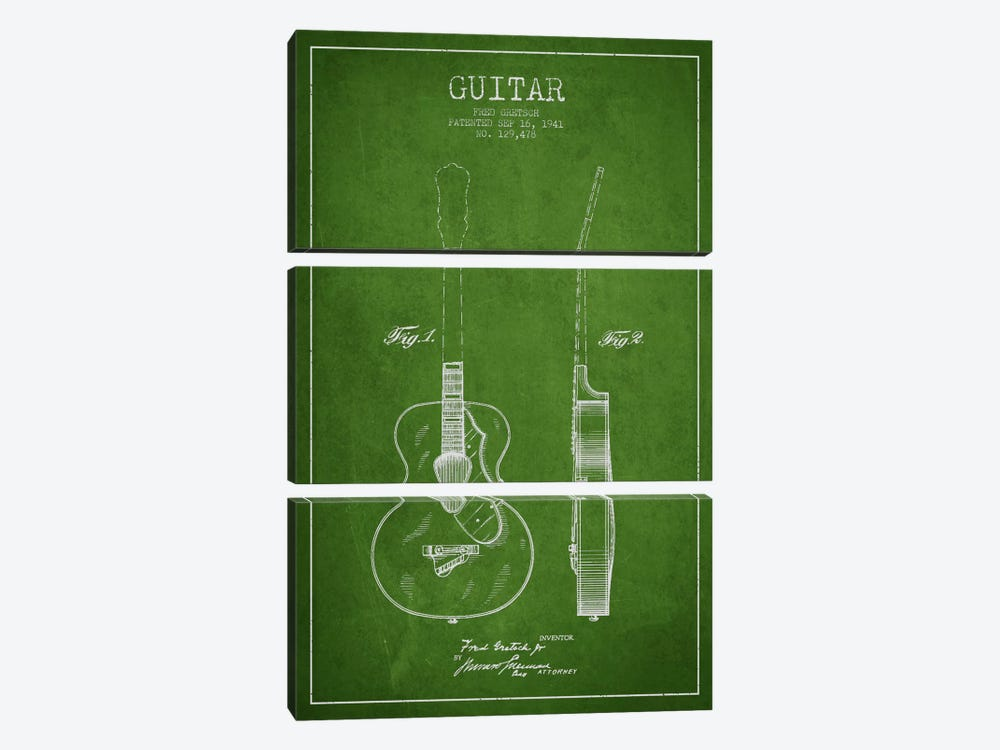 Guitar Green Patent Blueprint by Aged Pixel 3-piece Art Print
