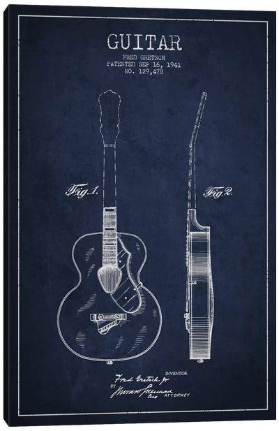 Guitar Navy Blue Patent Blueprint Canvas Print #ADP851