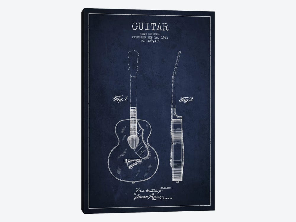 Guitar Navy Blue Patent Blueprint by Aged Pixel 1-piece Canvas Wall Art