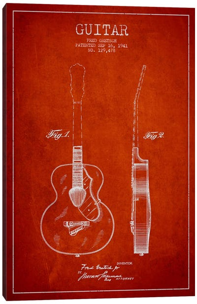 Guitar Red Patent Blueprint Canvas Print #ADP852