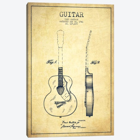 Guitar Vintage Patent Blueprint Canvas Print #ADP853} by Aged Pixel Canvas Art