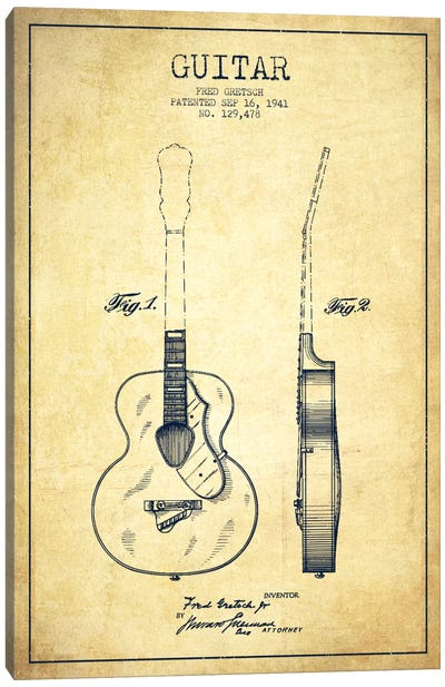 Guitar Vintage Patent Blueprint Canvas Art Print