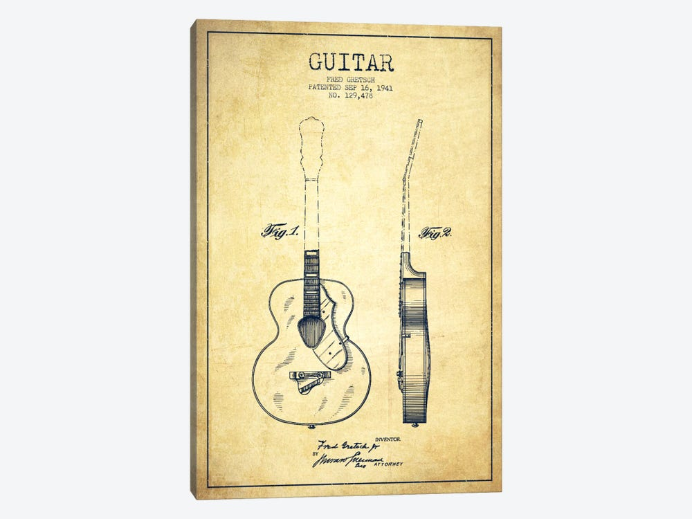 Guitar Vintage Patent Blueprint by Aged Pixel 1-piece Canvas Wall Art