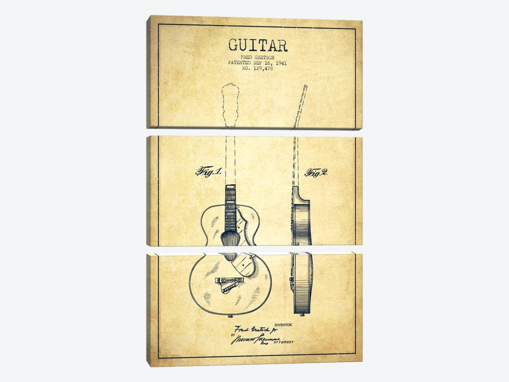 Guitar Vintage Patent Blueprint by Aged Pixel 3-piece Canvas Artwork
