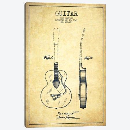 Guitar Vintage Patent Blueprint Canvas Print #ADP853} by Aged Pixel Canvas Art