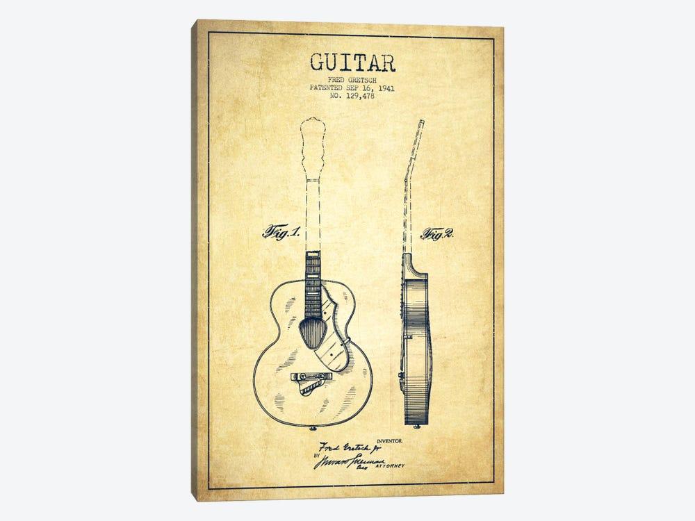 Guitar Vintage Patent Blueprint by Aged Pixel 1-piece Canvas Wall Art