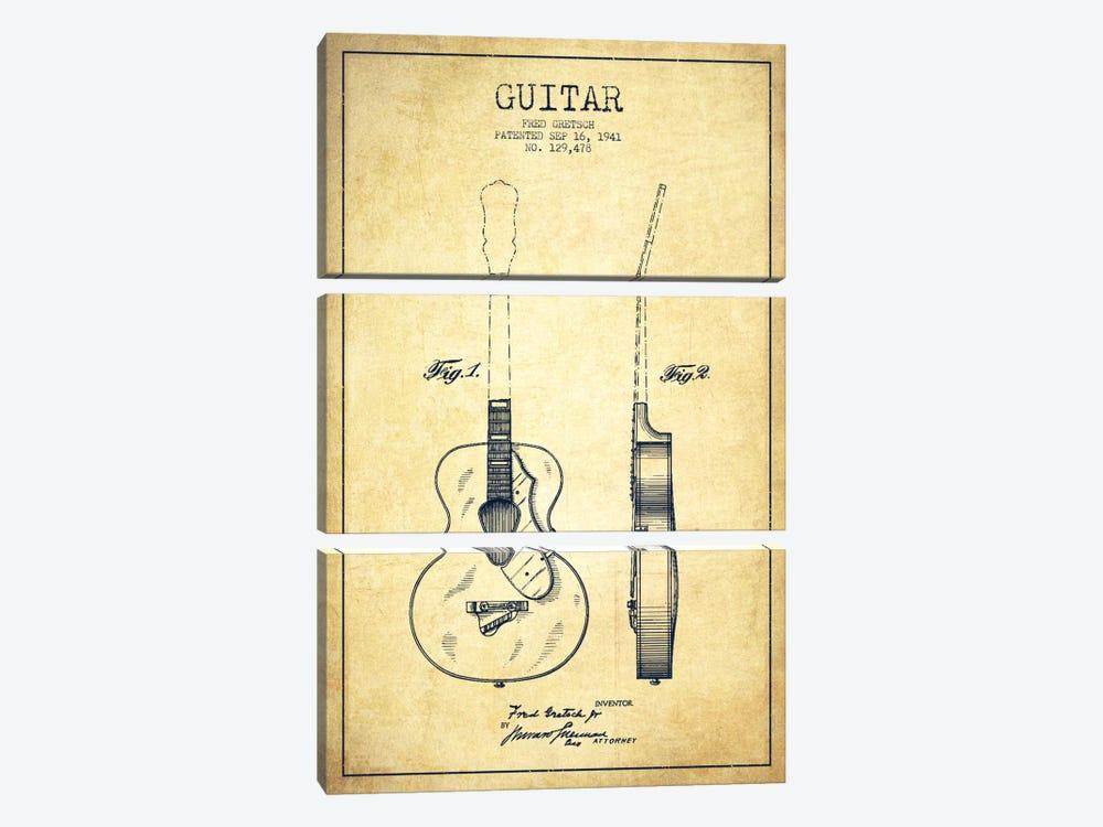 Guitar Vintage Patent Blueprint by Aged Pixel 3-piece Canvas Artwork