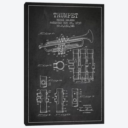 Trumpet Charcoal Patent Blueprint Canvas Print #ADP854} by Aged Pixel Canvas Print