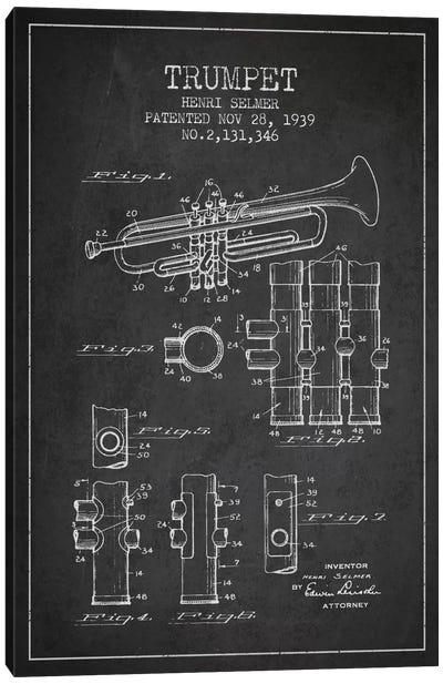 Trumpet Charcoal Patent Blueprint Canvas Art Print