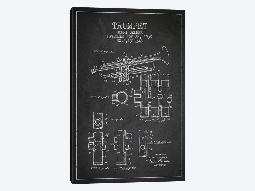 Trumpet Charcoal Patent Blueprint by Aged Pixel 1-piece Art Print