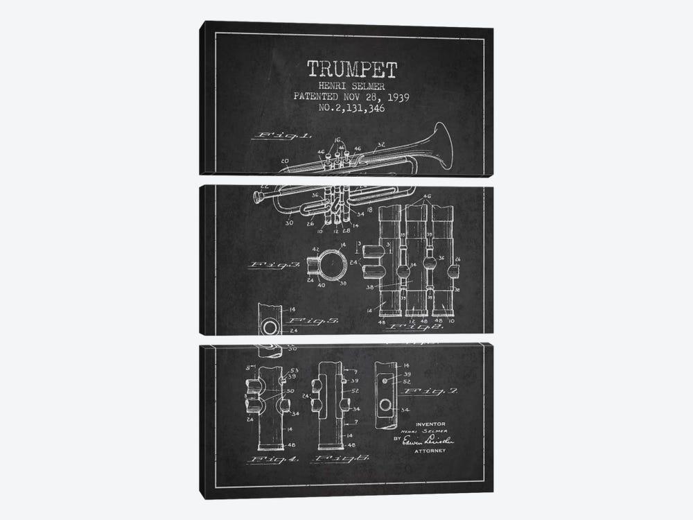 Trumpet Charcoal Patent Blueprint by Aged Pixel 3-piece Canvas Art Print
