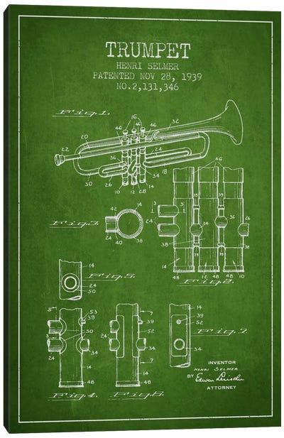 Trumpet Green Patent Blueprint Canvas Print #ADP855