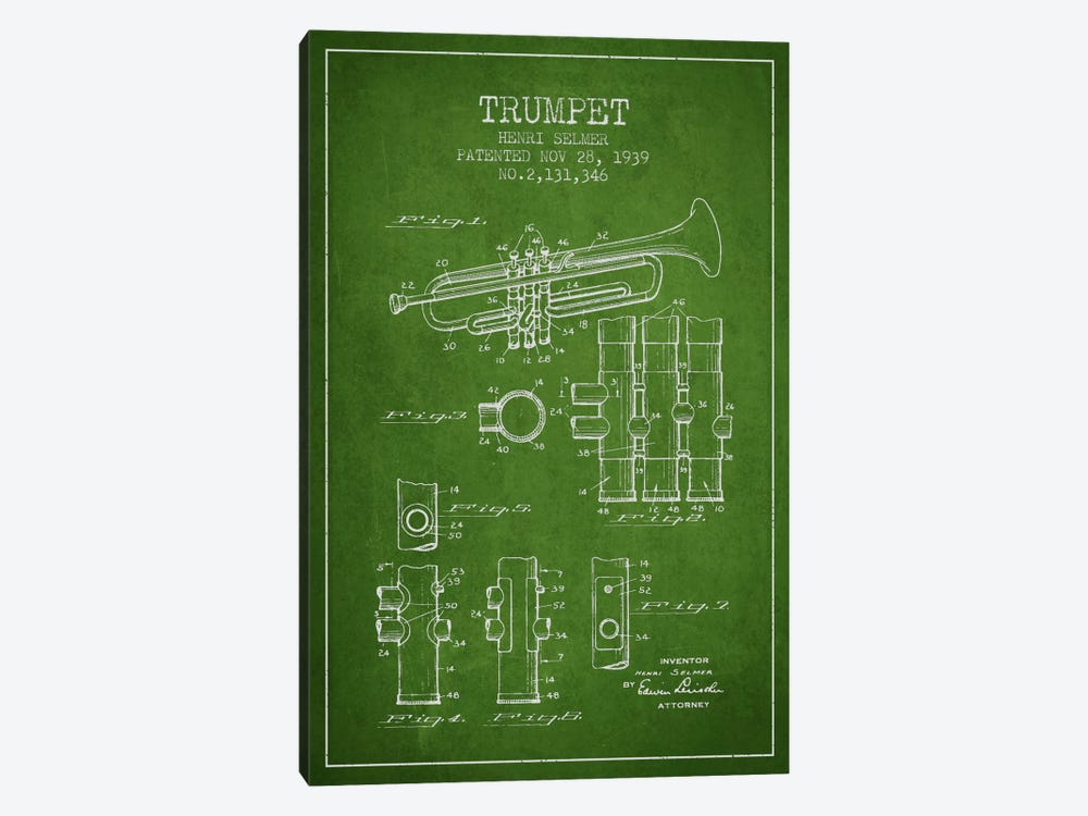 Trumpet Green Patent Blueprint by Aged Pixel 1-piece Canvas Art