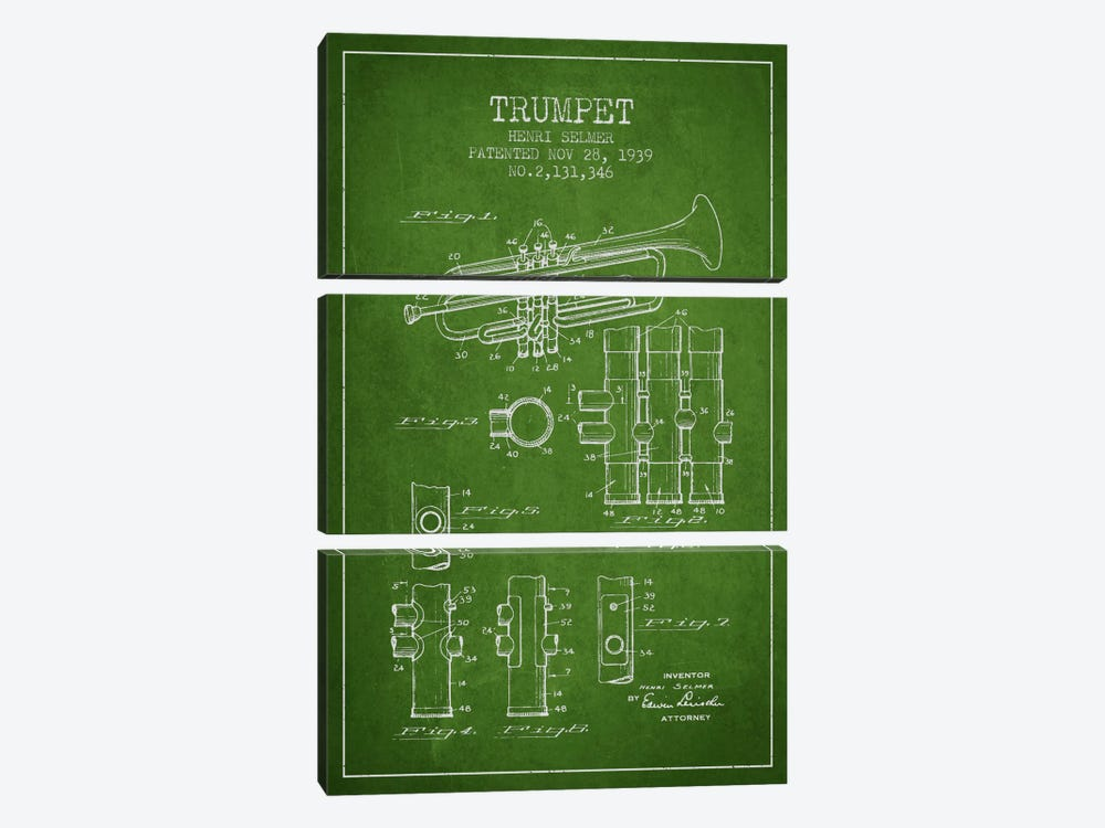 Trumpet Green Patent Blueprint by Aged Pixel 3-piece Canvas Artwork