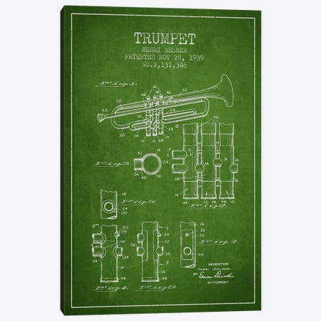 Trumpet Green Patent Blueprint Canvas Print #ADP855} by Aged Pixel Canvas Print