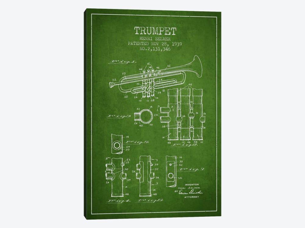 Trumpet Green Patent Blueprint by Aged Pixel 1-piece Canvas Art