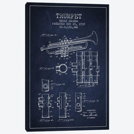 Trumpet Navy Blue Patent Blueprint Canvas Print #ADP856} by Aged Pixel Canvas Art Print